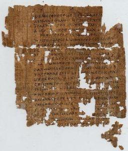 papyrustekstin sivu Matteuksen evankeliumista, n. 250 jKr.