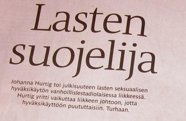 Irina Vähäsarja: Lasten suojelija. Helsingin Sanomat 27.4.2011.