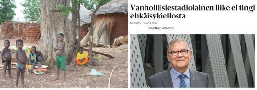 Vasemmalla: Lapsia kotipiahlla, Togossa. Oikealla: SRK:n puheenjohtaja Viljo Juntunen haastattelussa Helsingin Sanomissa 7.9.2014.