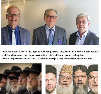 Yläkuvassa SRK:n johtokunnan kolme puheenjohtajaa, Matti Taskila, Viljo Juntunen ja Valde Palola.